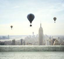 Luchtballon op hemel