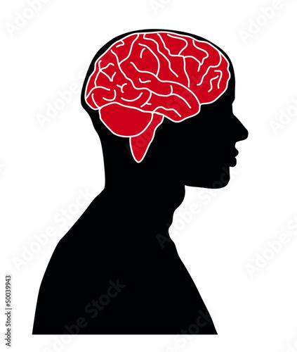 Hirn im Kopf eines Mannes Illustration