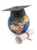 Graduation globe and scroll
