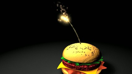 concept animation, fast food bomb.
