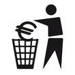 Figur wirft Euro in Mülleimer