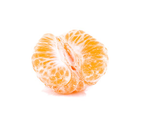 Pieces of orange tangerine isolated over white background