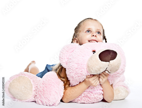 girl with plushies