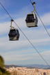 Ropeway on background of Barcelona, Spain