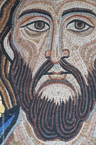 Jesus Christ. The mosaic is modern, made by a sicilian artist.