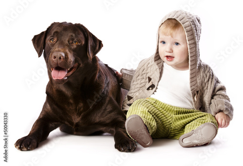 little boy and labrador , Best friends