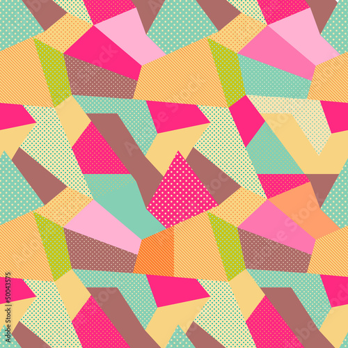 Indian Seamless Patchwork Pattern.