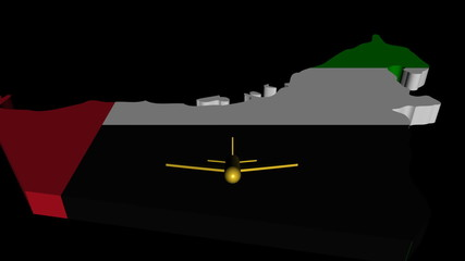 Plane taking off from UAE map flag animation