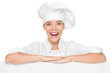 Chef or baker woman showing sign billboard excited