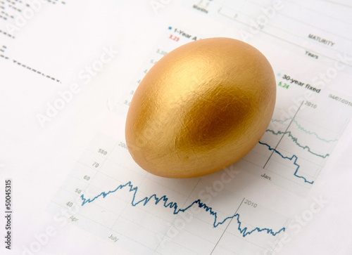 Gold egg on a diagramm