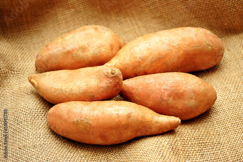 Five Sweet Potatoes on Burlap