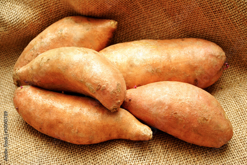 Close-Up of 5 Sweet Potatoes on Burlap