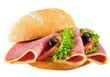 Bread roll salami salad. Isolated