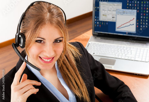 Smiling businesswoman at work