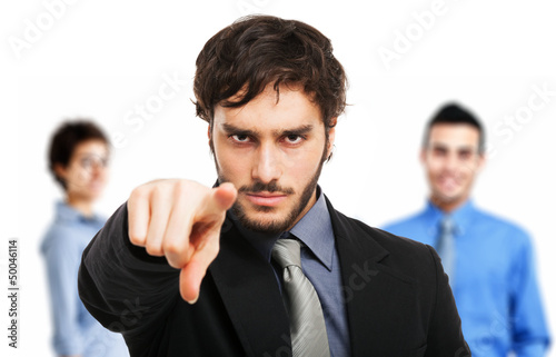 Man pointing his finger