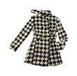 Black and white houndstooth check woolen cute coat