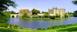 Panaramic view of Leeds Castle and moat, England