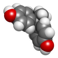 Bisphenol A (BPA) plastic pollutant, molecular model.