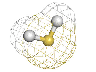 Hydrogen sulfide (H2S) toxic gas molecule, chemical structure. H