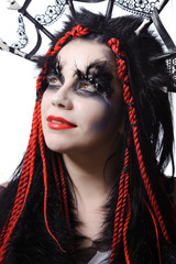 woman with voodoo shaman make-up
