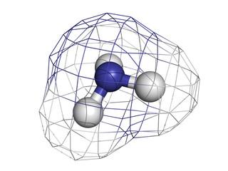 Ammonia (NH3), molecular model.