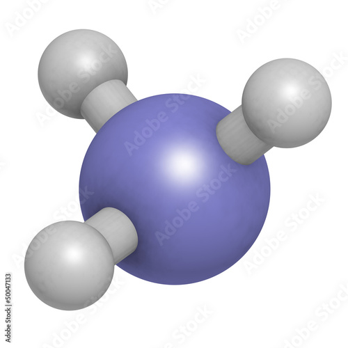 Ammonia (NH3), molecular model.