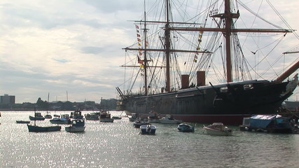 19th century warship HMS Warrior in Portsmouth, UK