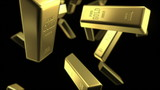 rain of gold bars, looped 3d animation with depth of field