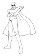 Outline illustration of a superhero in spacesuit