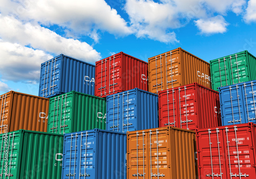 Poster Poort Stacked cargo containers in port