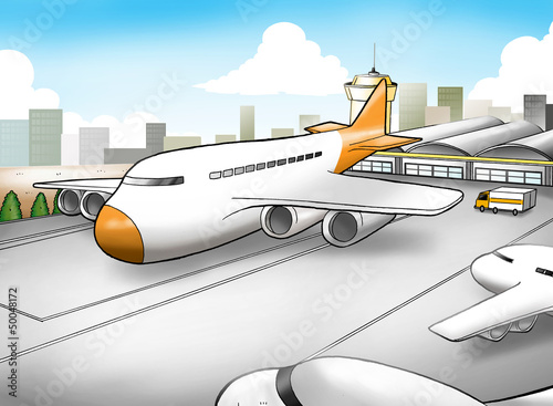 Aluminium Vliegtuigen, ballon Cartoon illustration of an airport