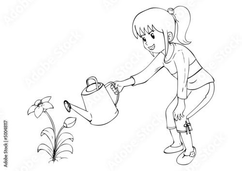 Outline illustration of little girl watering the flower