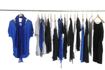 Scarf with blue shirt and s Variety of fashion clothes hangers