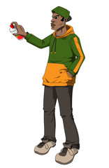 Illustration of a male figure holding a spray can