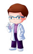 Cute cartoon illustration of a researcher