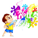 vector illustration of kids playing Holi festival