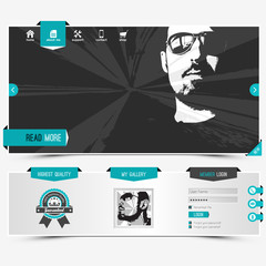 website template for personal profile, contains textured labels