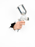 male hand holding a spray gun