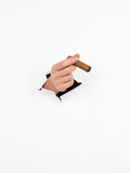 male hand holding cigar