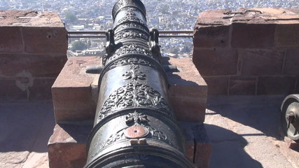 ancient ornamental cannon in Jodhpur fort, Rajasthan,India
