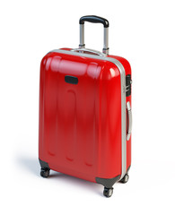 Red suitcase isolated on white