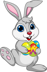 Cute rabbit with ester egg