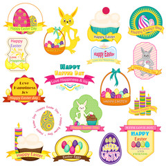 vector illustration of Easter badge with eggs and bunny