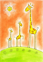 Three happy giraffes, child's drawing, watercolor painting