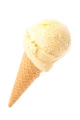 Eine Eistüte mit Vanilleeis