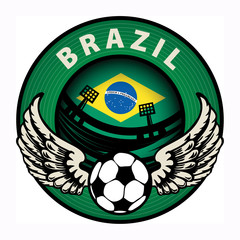Label with football and name Brazil, vector illustration