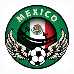 Label with football and name Mexico, vector illustration
