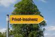Gelber Pfeil mit Baum PRIVAT-INSOLVENz