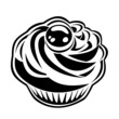 Black silhouette of cupcake. Vector illustration.
