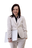 Smiling businesswoman in white suite with a laptop in her hands